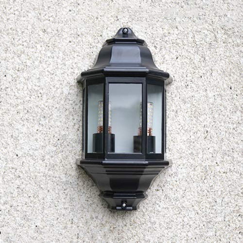 Skingk Scheinwerfer-Auenwandleuchten-Schwarz-Aluminium-halbe Laternen-Wandleuchte mit klarer Glasscheibe Mattschwarzer flush-Auenwandleuchte-E27-Wandlampe freie Glasplatten Aluminium