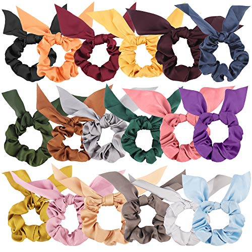 Bow Scrunchies For Hair,18 Pcs Chiffon Scrunchies Silk with Bow Scarf, Solid Color Bow Scrunchies Ponytail Holder, Hair Ties Ropes, Rabbit Bunny Ear BowKnot Scrunchies Hair Accessories for Women Girls