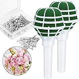 Paquete de 2 soportes de ramo de flores, con mango floral de espuma, para arreglos de flores, decoración de flores con 50 alfileres de flores