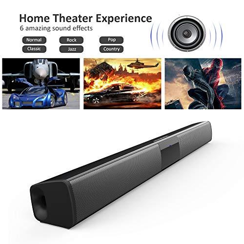 Barre de son, Haut-parleur, Wireless Bluetooth Barre de Son TV 2.0 Canal, Soundbar stéréo HD Audio Son Surround Home Cinéma avec Télécommande, Support RCA/AUX