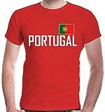 buXsbaum® Herren T-Shirt Portugal | Portuguesa Portogallo Europa Ländershirt Fanshirt Flagge Trikot Reise | XXL, Rot