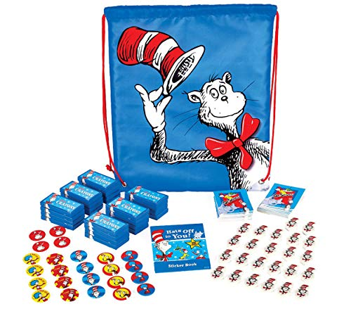 Dr. Seuss Pre-Filled Drawstring Backpack! Plus 24 Assorted Loot Bag Party Favors Perfect For Dr. Seuss Themed Event!!