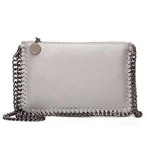 Angleliu Damen PU lässigen Kette Handtasche Modisch Schultertaschen Glitzer Beuteltasche (Kleines graues Paket)