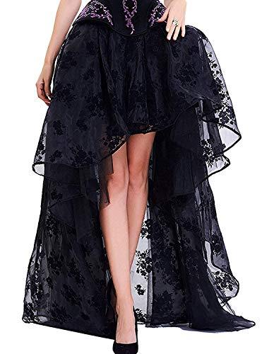 para Faldas de Mujer Negro Punk Irregular Vestido Steam Punk cóctel Gasa Punta Party Rock Cosplay Disfraz