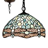 Tiffany Hanging Light W12H32 Inch Sea Blue Stained Glass Pendant lamp 1E26 Crystal Bead Dragonfly Style S147 WERFACTORY Series Lamps Chandelier Ceiling Fixture Kitchen Bar Hallway Dining Room Loft
