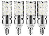 CTKcom 12W E14 LED Candelabra Light Bulb(4Pack),E14 Base LED Corn Bulb,100 Watt Equivalent LED Chandelier Bulbs Daylight White 6000K LED Corn Lamps,AC85-265V 1400LM LED Lights Bright White(Silver)
