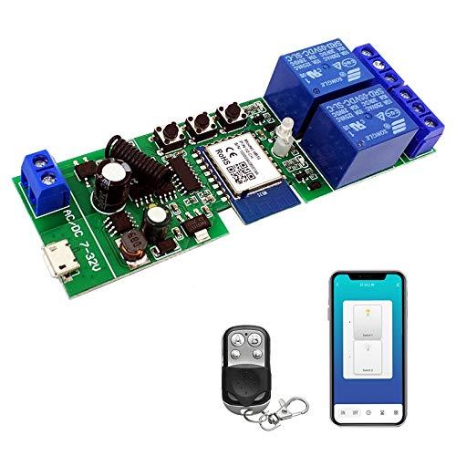 Newgoal 2 canalesWiFi Wireless Smart Switch Módulo de relé de bloqueo automático que avanza lentamente, se aplica al control de acceso Tuya SmartLife APP, DIY WiFi Abridor de puerta de garaje