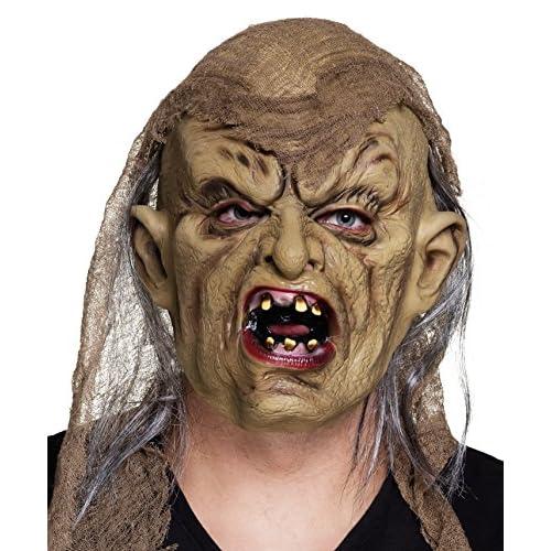 Boland- Maschera Horror Freak Zombie in Lattice con Capelli e Stoffa per Adulti, Beige, Taglia Unica, 97540