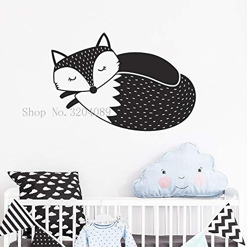 fancjj Woodland Fox Vinyl Wandaufkleber für Kinderzimmer Abnehmbare Niedlichen Tier Wandkunst Aufkleber Sleepy Fox Kinderzimmer Dekor Aufkleber 61X42 cm
