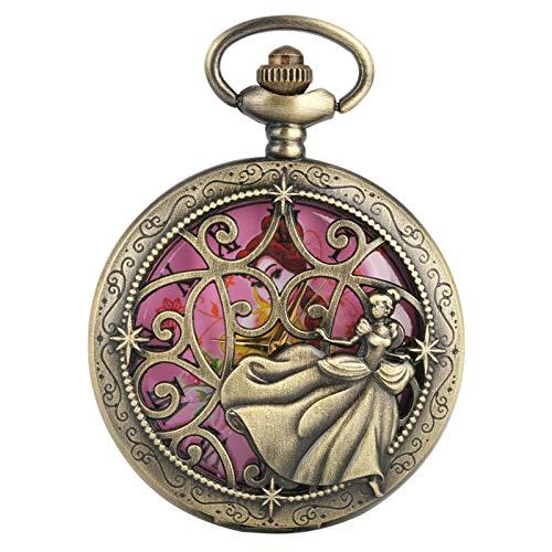 Dancing Princess Design Reloj de Bolsillo de Cuarzo Exquisito Collar de Bronce Reloj para niña Damas Números Romanos Pantalla Redonda Dial 80cmchain