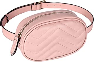Women Waist Bags Waterproof PU Leather Belt Bag Fanny Pack Crossbody Bumbag for Party, Travel, Hiking (Pink)