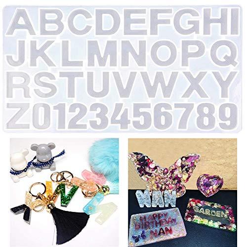 Molde de Resina - WENTS Números Letras Alfabeto Molde de silicona Molde de resina Colgante de joyería Molde para la boda Baby Shower Cumpleaños Regalo de Navidad Hecho a mano Artesanía DIY