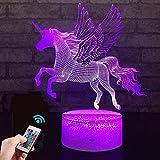 Einhorn Geschenk Einhorn Nachtlampe für Kinder, 3D-Licht 7 Farben ändern mit Remote Urlaub und Geburtstagsgeschenke Ideen für Kinder (Einhorn2)