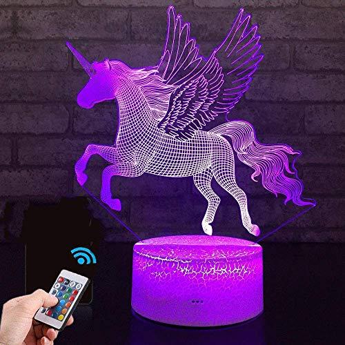Einhorn Geschenk Einhorn Nachtlampe für Kinder, 3D-Licht 7 Farben ändern mit Remote Urlaub und...