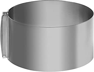 6-12 Inch Cake Mold Ring, KINJOEK Retractable Stainless Steel Adjustable Round Mousse Cake Ring Milk Bar Mold Cake DIY Baking Mould Tool