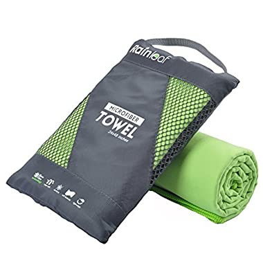 RainLeaf Microfiber Towel, 40 X 72 Inches. Green.