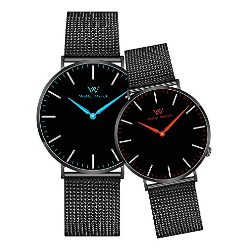 Welly Merck Couple Watches Valentines Day Gifts for Her and His Pair Watch Swiss Quartz Movement 36...