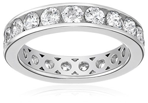 Platinum-Plated Sterling Silver Swarovski Zirconia Channel Set All-Around Band Ring (3 cttw), Size 6