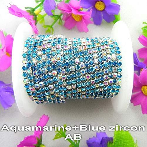 Astonish High Density 2,54 m/Rolle Farben Mix ss6 2 mm ss8 2,5 mm ss10 2,8 mm ss12 3 mm Strass Kette zum Aufnähen auf Bordüre: A3 Aquamarin...