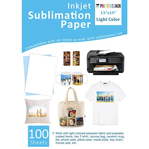 """Sublimation Paper 100 Sheets 13"""" x 19"""" for Any Epson Sawgrass Inkjet Printer with Sublimation Ink for T-shirt, Ceramic, Mouse Pad, Towel DIY Unique Gifts"""