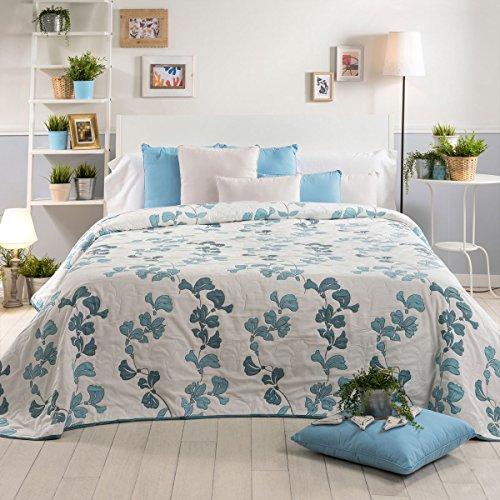 Sancarlos Tagesdecke Doppel Stoff Floral Isabel, Polyester, Blau, King, 270x 270x 1cm