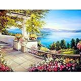 Pintura al óleo de paisaje costero por números para adultos, niños, regalo único, decoración del hogar, cuadro de pared (sin marco)