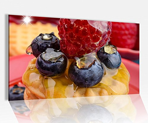 Acrylglasbild 80x50cm Nachtisch Dessert Himbeere Kekse Glasbild Bilder Acrylglas Acrylglasbilder Wandbild 14D304, Acrylglas Größe4:80cmx50cm