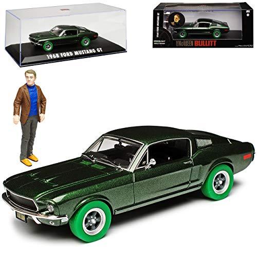 Greenlight Ford Mustang Bullitt Grün Coupe mit gruenen Reifen mit Figur Steve McQueen 1968 1/43 Modell Auto mit individiuellem Wunschkennzeichen
