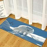 OPLJ Impresión de Paisaje Animal cojín Interior Alfombra Larga Sala de Estar Cocina Antideslizante Alfombra de baño Felpudo Suave A5 50x160cm