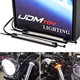 iJDMTOY Wrap Around Fork/Rollbar Mount White LED Driving DRL & Amber Sequential Flash LED Turn Signal Light Strips, Compatible With Motorcycle Bike ATV UTV, etc