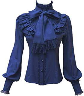 Chiffon Ruffle Lace Bow Tie Vintage Gothic Lolita Casual Shirt Blouse,White/Black/Wine Red/Blue