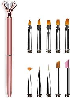 Jhua Juego de pinceles acrílicos para uñas de repuesto de puntas de pincel para decoración de uñas con barra de lápiz para...