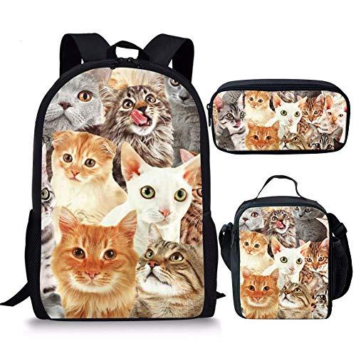 Mochila escolar para niños Cool 3d Animal Tiger Head Print School Bag con lonchera Bookbag escuela primaria