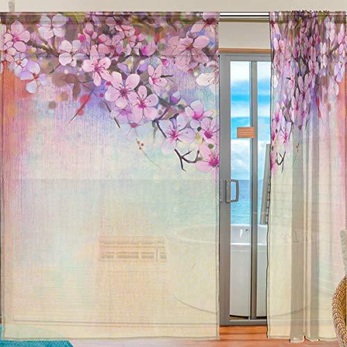 Ahomy 2 Panels Voile Fenstervorhang Aquarell Gemälde Kirschblüten Tüll-Vorhänge für Wohnzimmer Fenster Schlafzimmer 198 x 139,7 cm, Polyester, multi, 139.7x198.1 cm