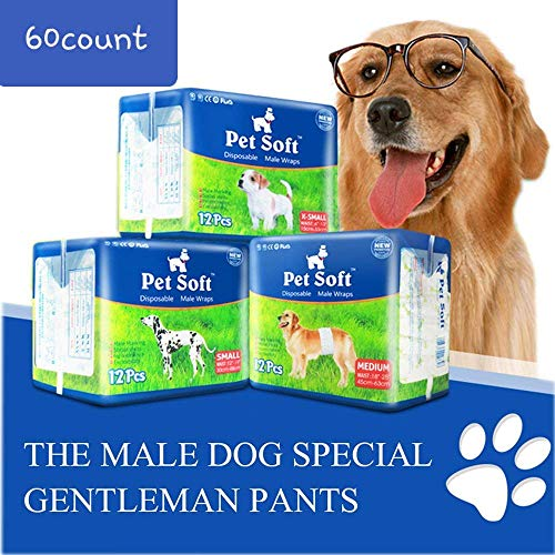 Pet Soft Disposable Male Wrap Dog Diapers Simple and Convenient, 60 Count (Medium 60ct)