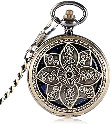 Reloj de Bolsillo Flor de Loto Reloj de Bolsillo de Cobre para Mujeres Hombres Esqueleto Mecánico Reloj de Bolsillo de Cuerda Manual