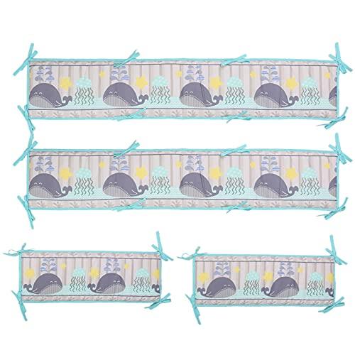 Forro de cuna para bebé, almohadillas de protección de la cama lavable Cuna elevada Forro de cuna para recién nacidos, cojines blandos algodón transpirable bebé cama parachoques acolchados para niños