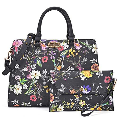 Dasein Women Handbags Satchel Purses Shoulder Bag Top Handle Work Tote for Lady with Matching Wristlet 2pcs Set (Peppled black flower)
