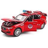 Xolye Bambini in Lega Modello di Auto Giocattolo in Metallo Anti-Caduta Open Door Toy Car Sound And Light Sirena Effetti sonori Fire Truck Coasting Polizia Toy Car (Color : Rosso)