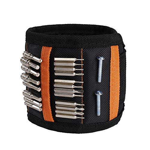 Pulsera Magnética con 15 Imanes Muñequera Magnetica Ajustable Wristband Magnético para Fijar Tornillos Clavos Brocas Pernos para Hombres y Maquinaria