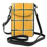 Bolso de cuero ligero de la PU pequeño bolso de Crossbody Mini bolsa de teléfono celular bolsa de hombro con correa ajustable Mostaza amarillo Plaid piscina azulejos patrón