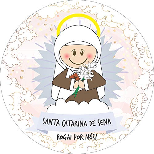 Painel de Lona Redondo Santinhos Católicos Santa Catarina de Sena - 200x200cm