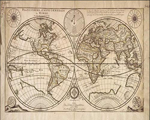 Impresión de mapa del mundo vintage, impresión de mapa, impresión Atlas, impresión geográfica de restaurantes, cafeterías pubs, 20.3 x 30.5 cm