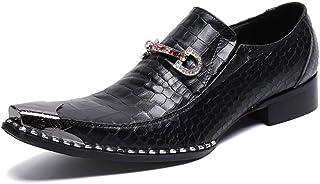 YOWAX Zapatos de Cuero Negro de los Hombres del Metal del Dedo del pie Zapatos de Cuero de Moda para Cap Informal, Fiesta,...