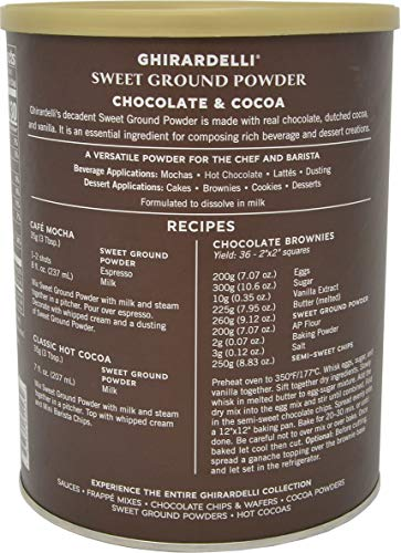 Ghirardelli - Sweet Ground Chocolate & Cocoa Gourmet Powder 3 lbs with Ghirardelli Stamped Barista Spoon
