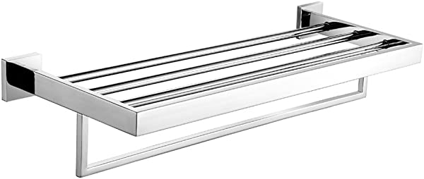 Leyden Wall Mount Bathroom Contemporary Chrome Finish Stainless Steel Material Bathroom Shelves