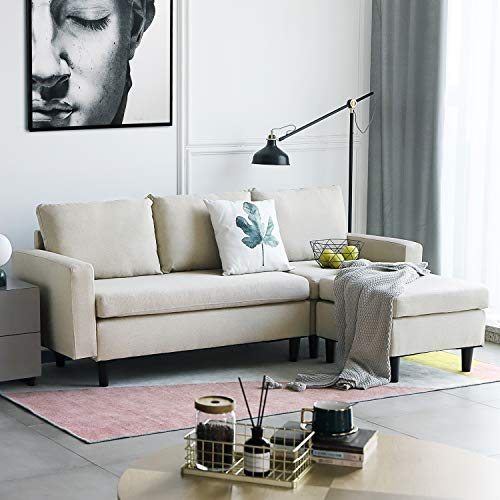 Aoxun Convertible Sectional Sofa Couch - L-Shaped Couch with Modern Linen Fabric for Small Space Beige