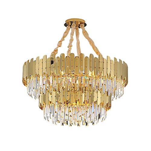 RTYUIO Lámpara de araña de Cristal para Sala de Estar, Moderna lámpara de Techo de Lujo Dorada, Redonda, Semi empotrada, E14, luz Colgante Ajustable, Dorado, 60x30 cm (Dorado, 100x55 cm)