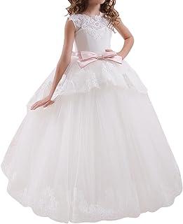 805ee1b776d3e OBEEII Robe Princesse Elegante Longue en Dentelle de Mariage Demoiselle  D honneur Première Communion Cérémonie