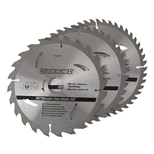 Silverline 749249 - Discos de TCT para sierra circular 24, 40, 48 dientes, 3 pzas (200 x 30 - anillos de 25, 18 y 16 mm)